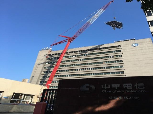 中華電信國際通訊機房70米鐵塔拆除
